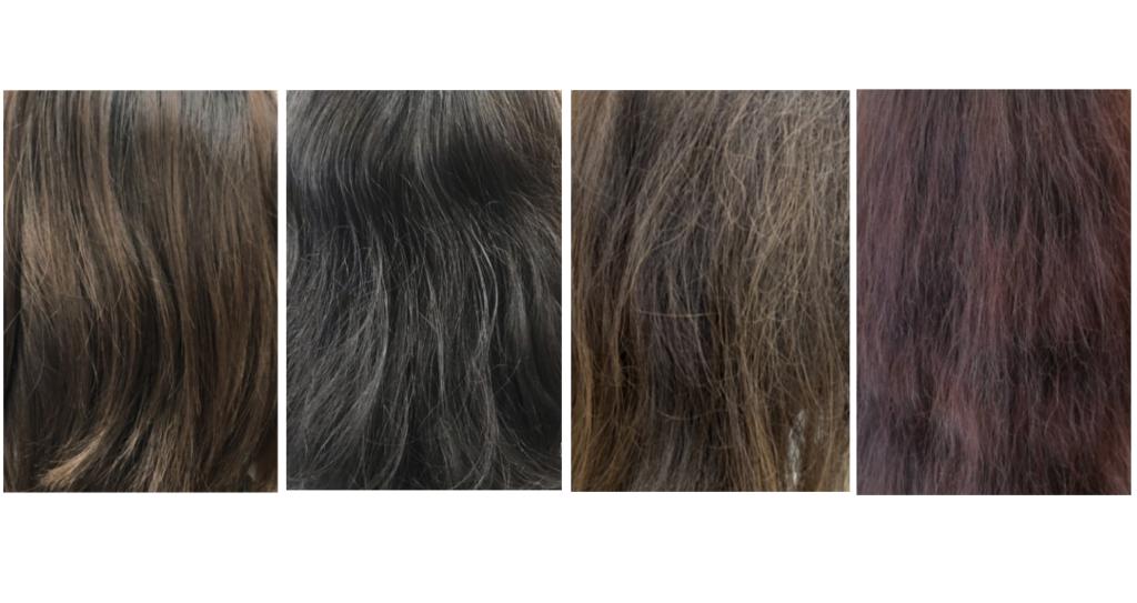 写真は左から【波状毛】【捻転毛】【連珠毛】【縮毛】です。